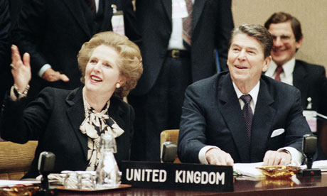 Thatcher and Reagan at Nato headquarters in Brussels, November 1985.