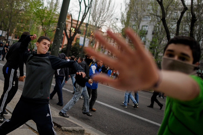 Protesters take to the streets of Madrid on Friday as the number of unemployed surpasses 6 million for the first time in Spain's history.