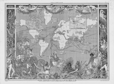 """6d24ef2b1 FIGURE ONE: Walter Crane, """"Imperial Federation Map Showing the Extent of  the British Empire (1886),"""" The Graphic [supplement] (July 24, 1886)."""